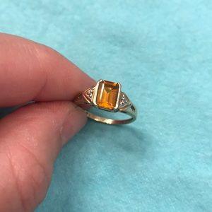 10k Gold | Citrine & Diamond Ring